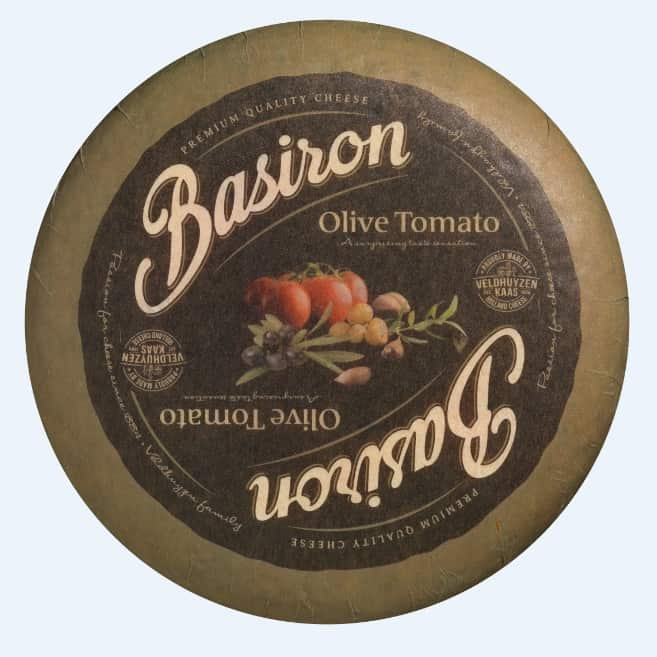 Hard cheese with the addition of olives and tomatoes from the Basiron series